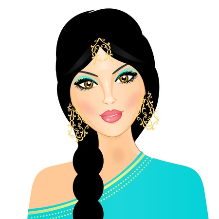 beautiful girl face: illustration of  eastern girl