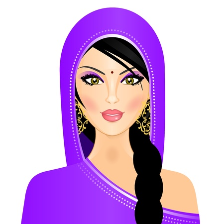 plait: illustration of Indian woman