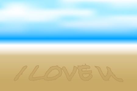 i love you: Vector illustration of beach Illustration