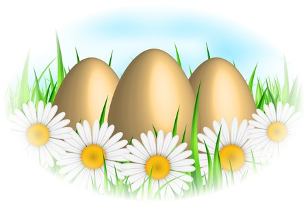 Vector background with eggs   flowers Vector