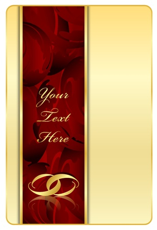 entwined: Vector gold   red background with rings Illustration