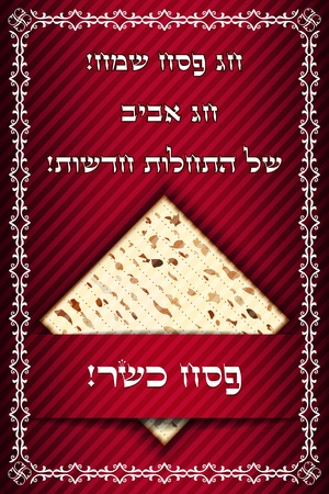 jews: Passover card with matza Illustration