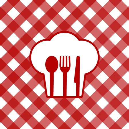 chef s hat: Vector illustration of tablecloth