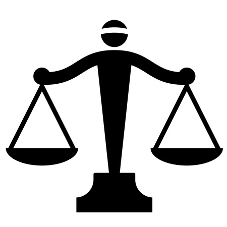 trial balance: Vector icon of justice scales