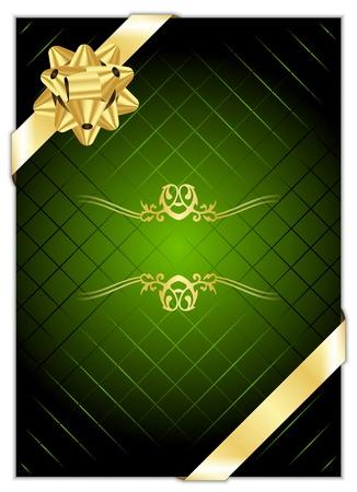 fiocco oro: Vector sfondo verde con fiocco oro Vettoriali