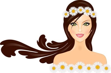 mujer: Ilustraci�n vectorial de la mujer con la margarita corona en la cabeza