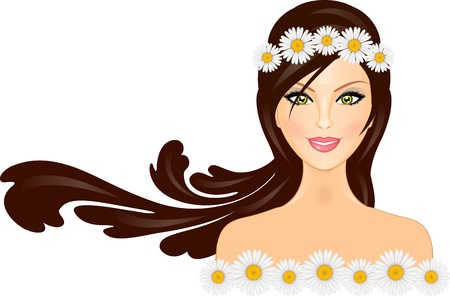 beauty salon face: Vector illustration of woman with daisy crown on head