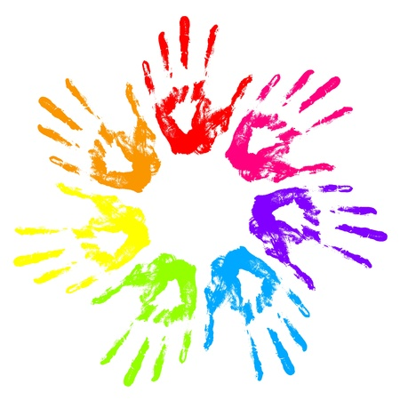 rainbow circle: Vector illustration of hand prints Illustration