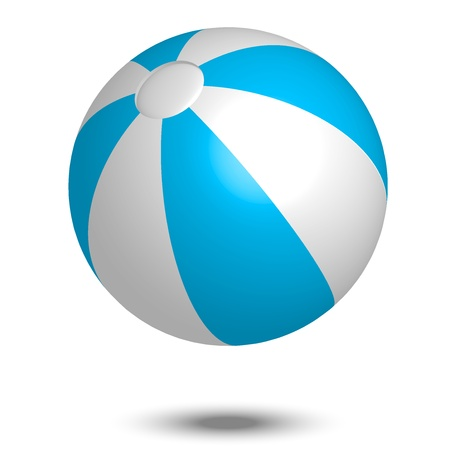 throwing ball: Vector illustration of blue & white beach ball