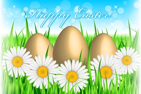 Vector Easter background with eggs & flowers Vector