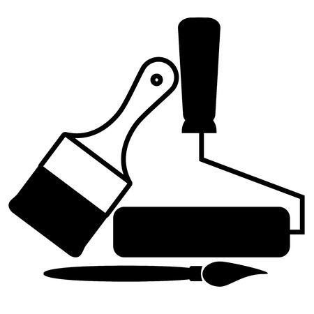 roller: Vector icono de brochas y rodillos