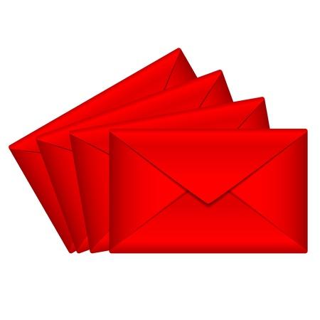 notecard: Vector illustration of red envelopes