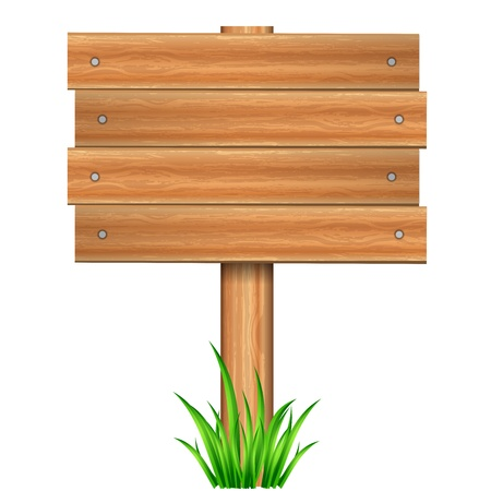 Vector illustration of wooden sign in grass Vector