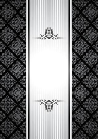 greeting card invitation wallpaper: black and white vintage background Illustration