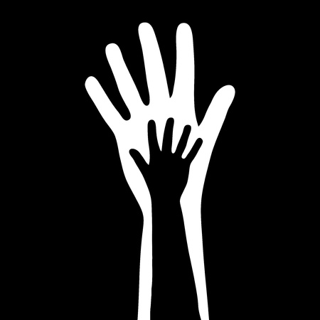 abandonment: illustration of small   big hands Illustration