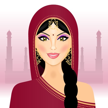 forehead: illustration of Indian woman