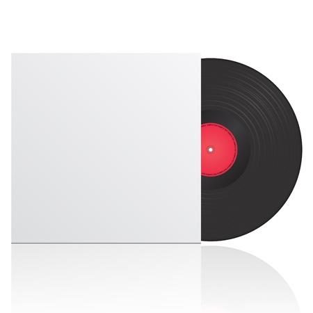 illustratie van vinyl record in envelop met ruimte voor uw tekst
