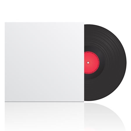illustration of vinyl record in envelope with space for your text
