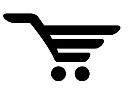 grocery cart: black icon of shopping cart