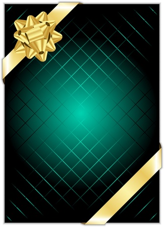 turquoise background with gold bow Vector