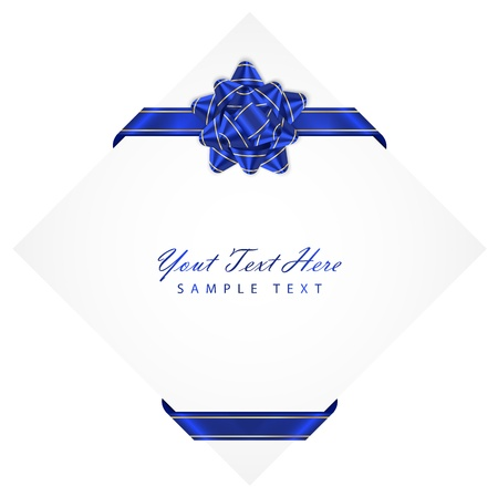 white background with blue bow Vector
