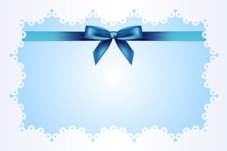 Blauer Hintergrund mit Spitze und Schleife Vektorgrafik