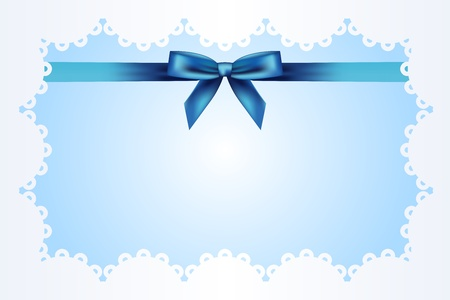 new born baby girl: Blue background with lace and ribbon