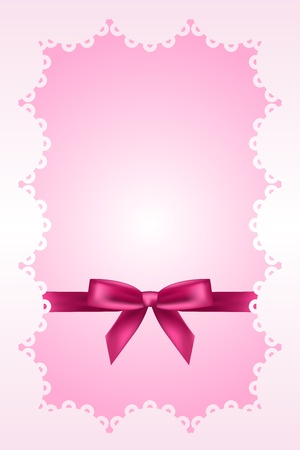 new born baby girl: Baby pink background with lace and ribbon