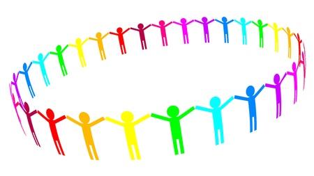población: Vector icono - la gente en el círculo Vectores