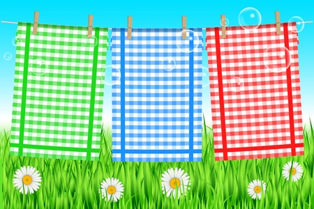 clothepeg: Vector illustration of towels on the clothesline