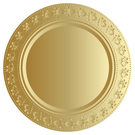 Vector illustration of gold tray Vector