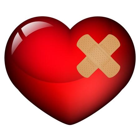 Vector illustratie van hart met gips Vector Illustratie
