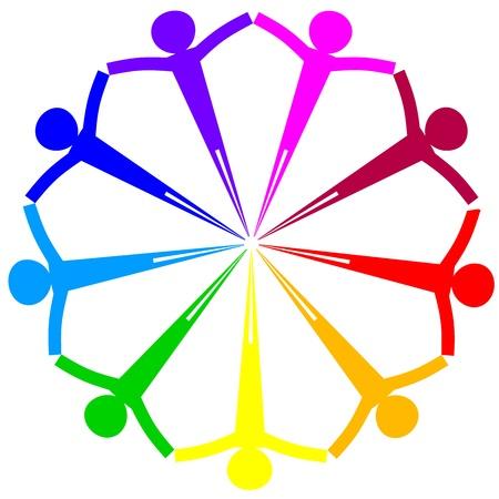 amicizia: Vector icon - cerchio persone Vettoriali