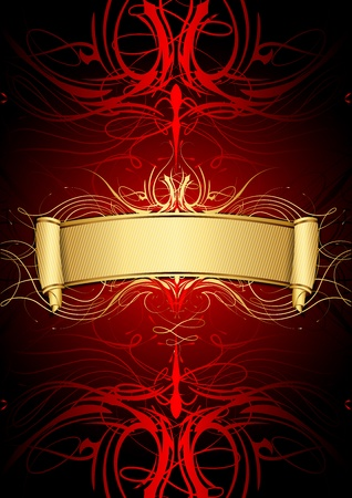 Vector illustration of gold scroll on red background Vector