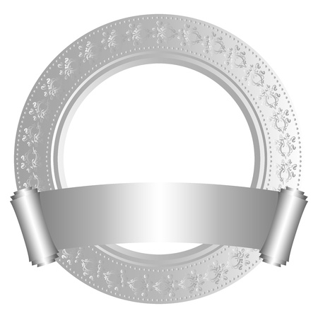 medallion: Circular frame with scroll