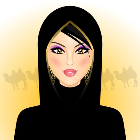 illustration of arab woman in the desert Vector
