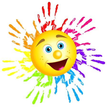 arcoiris: ilustraci�n de sol de impresiones de la mano