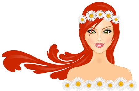 illustration of woman with red hair and daisy crown on head Vector