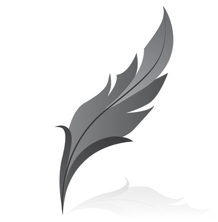 feather quill: illustration of grey feather Illustration