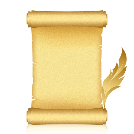 illustration of gold scroll and feather Illustration