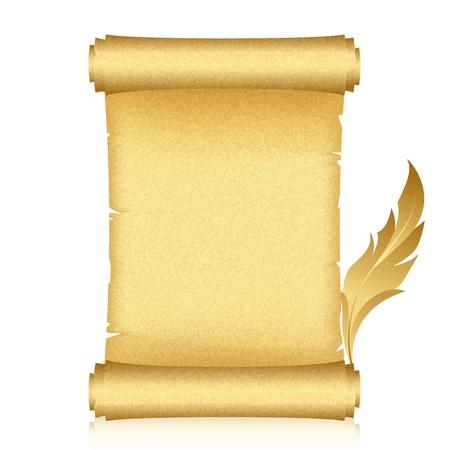 papiro: illustrazione di scroll oro e piume Vettoriali