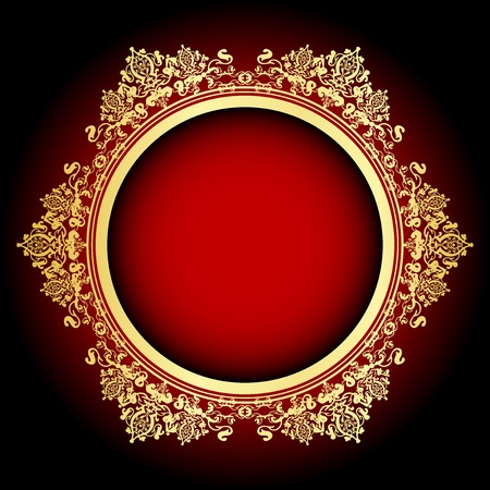 ornamented:  red and gold frame