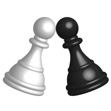 Ilustración vectorial de peón negro y blanco
