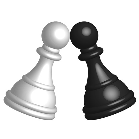 opposition: Vector illustration of black and white pawn