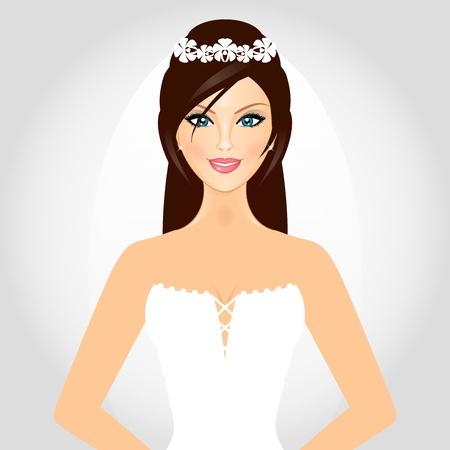 bridal salon: Vector illustration of bride