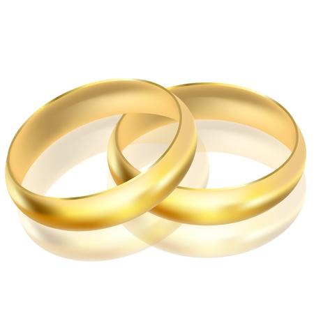 propuesta de matrimonio: Ilustraci�n vectorial de anillos de oro Vectores