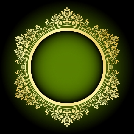 golden texture: Vector green & gold frame