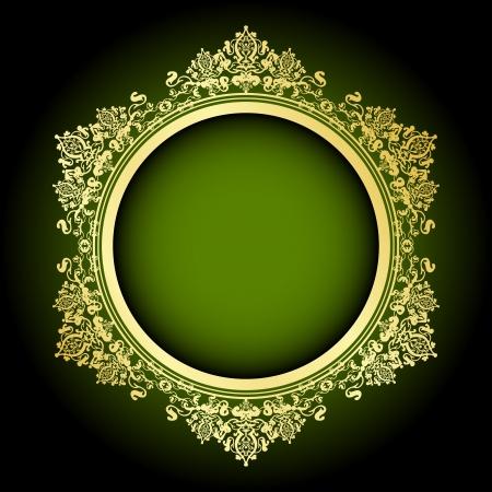 Vector green & gold frame