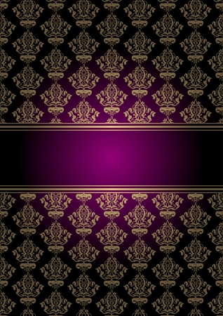 ornamented: Vector purple and gold background