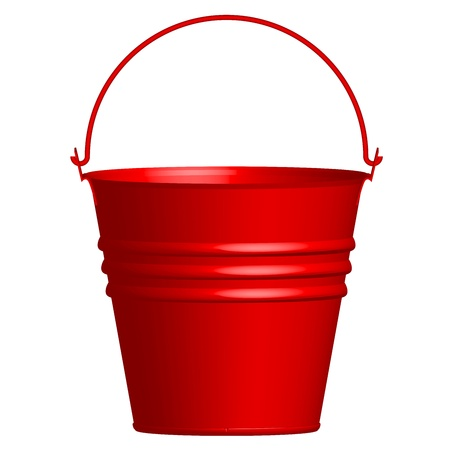 paint container: Vector illustration of red  bucket